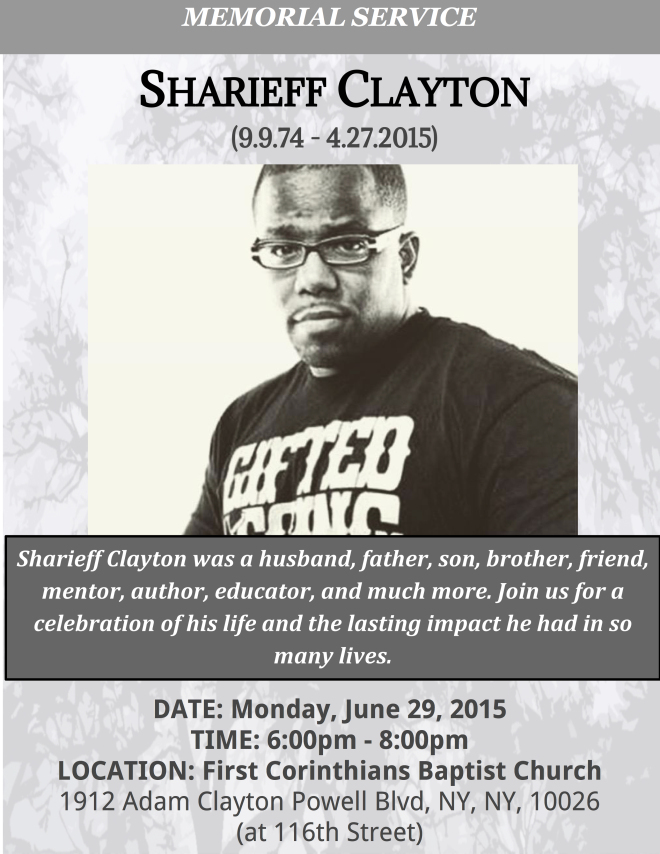Sharieff Clayton Memorial Flyer